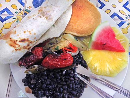 The best hostel breakfast ever at the Yellow House in Antigua, Guatemala.