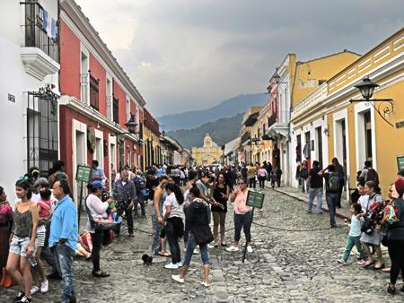Looking north toward the Santa Catalina Arch in Antigua, Guatemala.