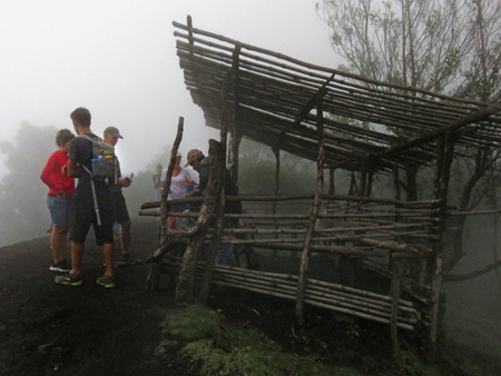 A rustic food stall on the side of a trail at Pacaya volcano in Guatemala.