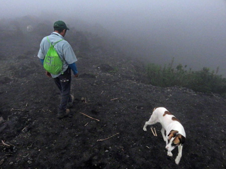 Our guide, Samuel, and a dog at Pacaya volcano in Guatemala.