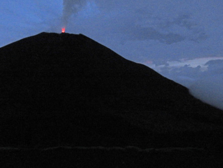 A wee bit of lava squeaks out of Pacaya volcano in Guatemala.