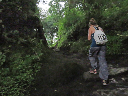 Competitive Girl and her gigantic ego leaves everyone in the dust on a trail leading up to Pacaya volcano in Guatemala.