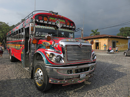 A chicken bus in Antigua, Guatemala.