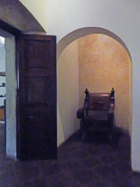 Sit in the hot seat at Museo Santiago de los Caballeros in Antigua, Guatemala.