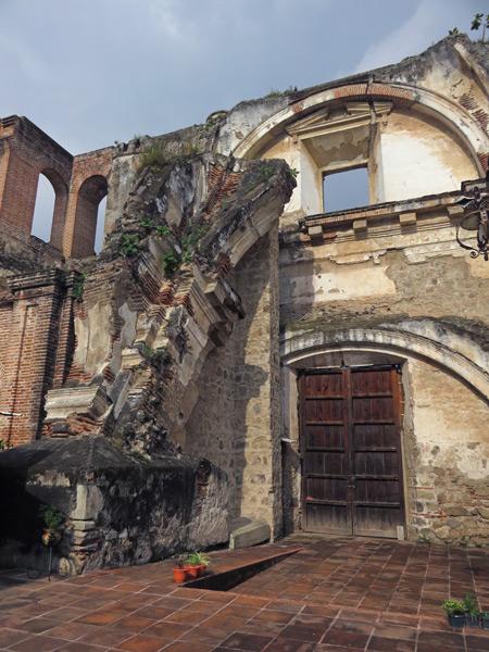 The ruins of Antiguo Colegio de la Compañía de Jesús in Antigua, Guatemala.