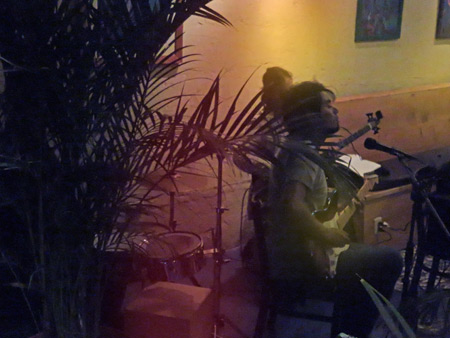 A jazz band plays in a cafe in Panajachel, Lago Atitlan, Guatemala.