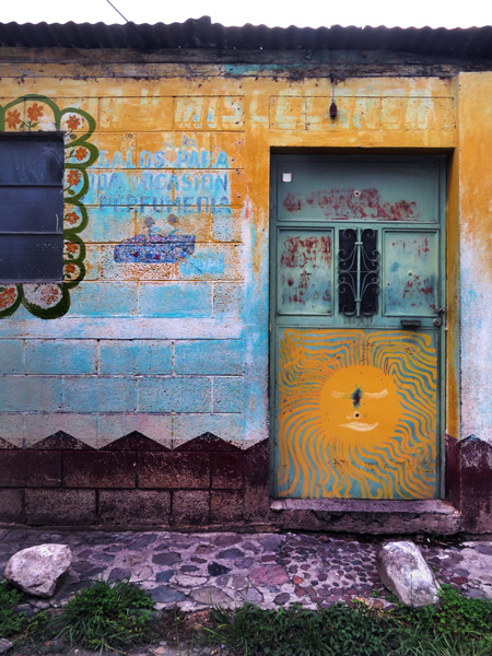 Layered colors on a wall in Panajachel, Lago de Atitlan, Guatemala.