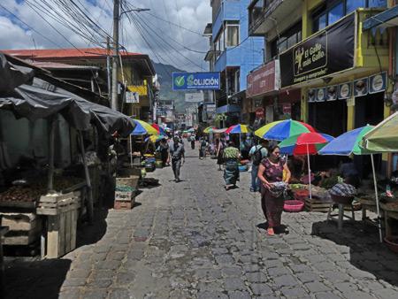 A busy lane in San Pedro, Lago de Atitlan, Guatemala.