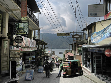 Looking toward the docks in downtown San Pedro, Lago de Atitlan, Guatemala.