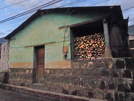 Fire wood all stacked up in San Pedro, Lago de Atitlan, Guatemala.