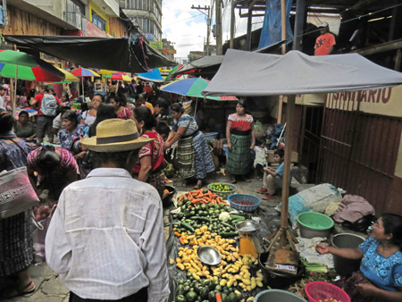 A Sunday street market in San Pedro, Lago de Atitlan, Guatemala.
