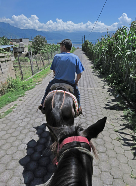 Moises leads the way down to the lake shore on a horse ride in San Pedro, Lago de Atitlan, Guatemala.