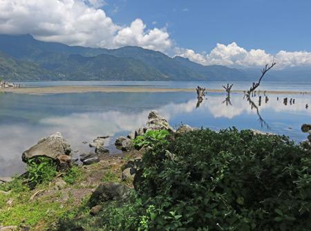 The lake shore in San Pedro, Lago de Atitlan, Guatemala.