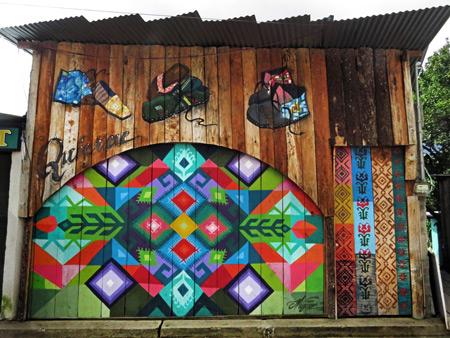 A psychedelic shoe shop in San Pedro, Lago de Atitlan, Guatemala.