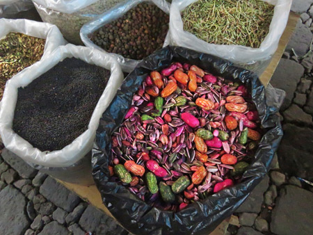Detail of a Sunday street market in San Pedro, Lago de Atitlan, Guatemala.