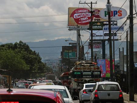 Gnarly traffic in Guatemala City, Guatemala.