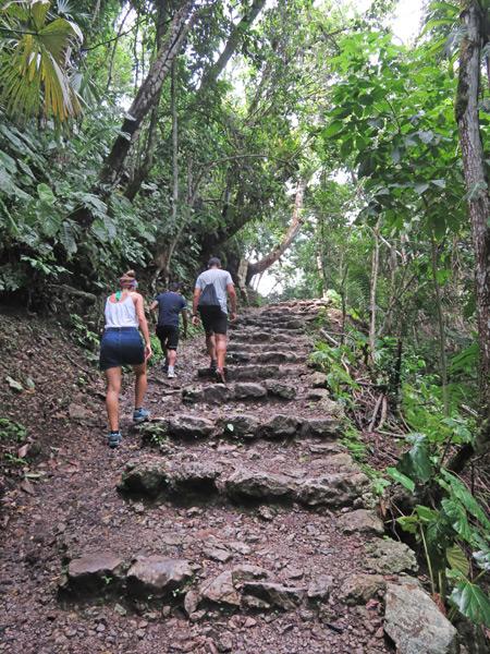 Ascending stone steps at Semuc Champey, Guatemala.