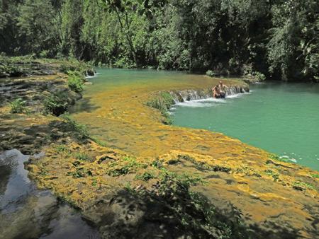 The emerald pools at Semuc Champey, Guatemala.