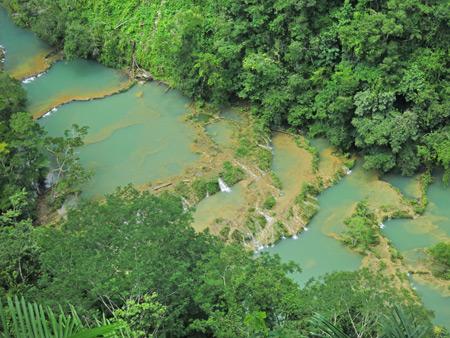 A close-up of the emerald pools at Semuc Champey, Guatemala.