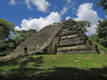 Temple 5C49 in the Mundo Perdido complex at Tikal, Guatemala.