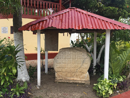 A Mayan sculpture at Central Park in Flores, Guatemala.