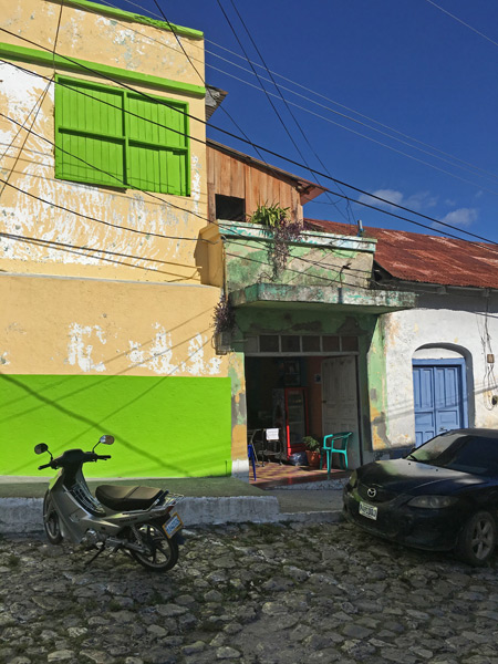 More colorful buildings in Flores, Guatemala.