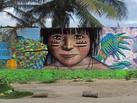 A Mayan mural in Tulum Pueblo, Mexico.