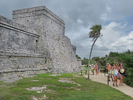 The back of El Castillo at the Tulum Ruins, Mexico.