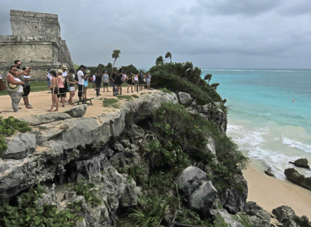 The beautiful cliffs and sea at the Tulum Ruins, Mexico.