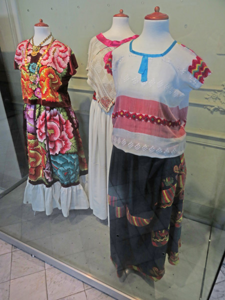 Hand-stitched clothing in the Museo de Arte Popular de Yucatan in Merida, Mexico.