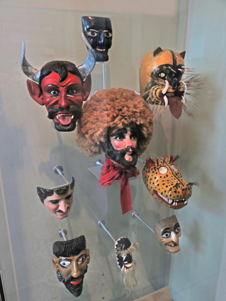 Grotesque masks in the Museo de Arte Popular de Yucatan in Merida, Mexico.