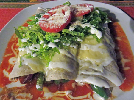 A triple veggie burrito at Espacios Mayas y Algo Mas in Merida, Mexico.