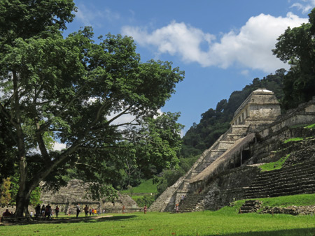 A side view of the Templo de las Inscripciones at the Palenque Ruins, Mexico.