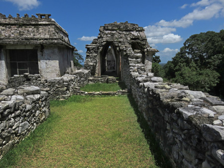 Some small buildings on top of El Palacio at the Palenque Ruins, Mexico.