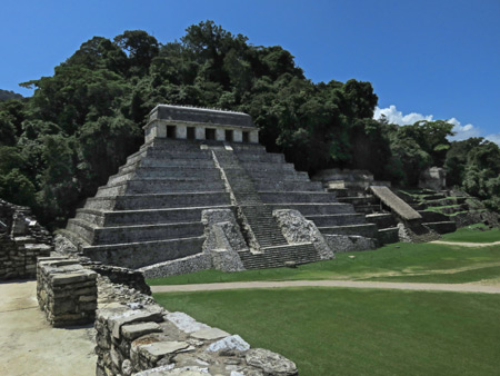 The Templo de las Inscripciones at the Palenque Ruins, Mexico.