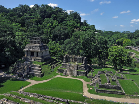 A view from the top of the Templo de la Cruz at the Palenque Ruins, Mexico.