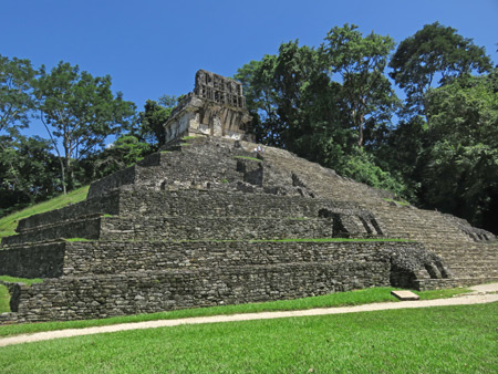 The Templo de la Cruz at the Palenque Ruins, Mexico.