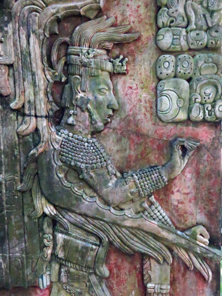 A re-creation of a carving depicting Mayan royalty at the Palenque Ruins, Mexico.