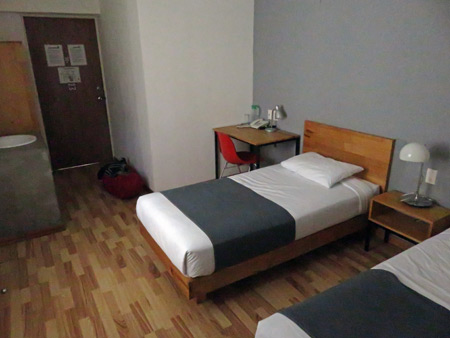A tight bed at the Hostel Tres Central in Tuxtla Gutierrez, Mexico.