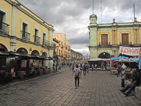 One corner of the Zocalo in Oaxaca City, Mexico.