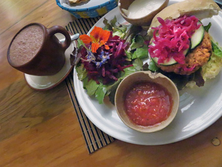 A veggie burger and hot chocolate at La Jicara in Oaxaca City, Mexico.