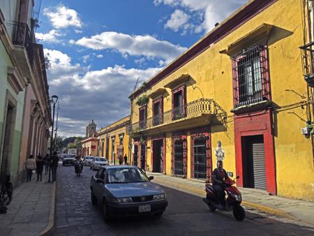 A sunlit wall in Oaxaca City, Mexico.