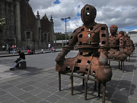 Sitting ducks next to the Sagrario Metropolitano in Mexico City, Mexico.