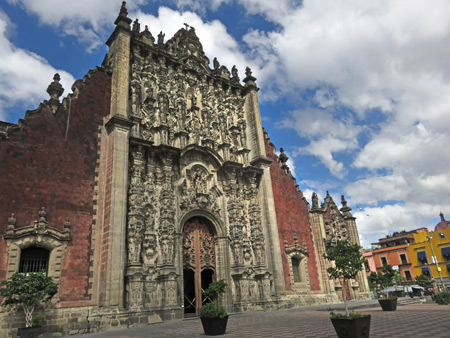 The Sagrario Metropolitano next to the Catedral Metropolitana de Mexico in Mexico City, Mexico.