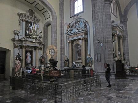 The interior of the Sagrario Metropolitano next to the Catedral Metropolitana de Mexico in Mexico City, Mexico.