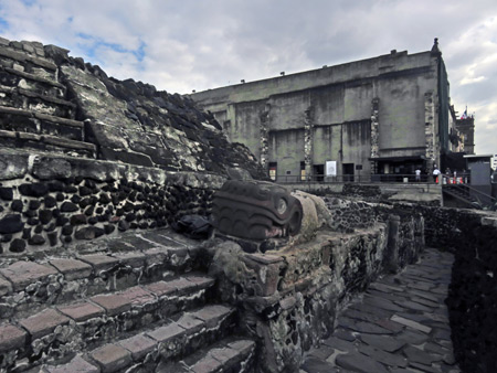 The base of a pyramid at the Museo Templo Mayor in Mexico City, Mexico.