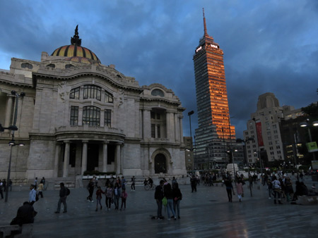 The Palacio de Bellas Artes at sunset in Mexico City, Mexico.