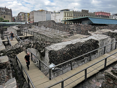 Ruins at the Museo Templo Mayor in Mexico City, Mexico.