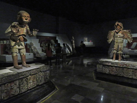 A couple of large figures loom at the Museo Templo Mayor in Mexico City, Mexico.