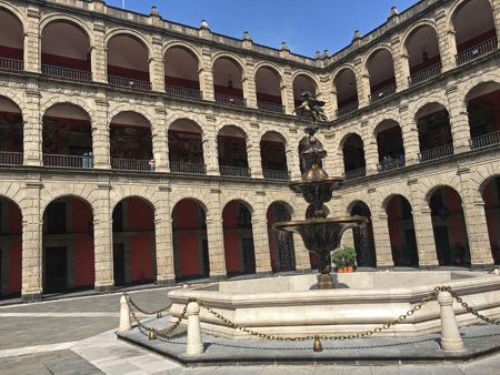 The Grand Courtyard of the Palacio Nacional in Mexico City, Mexico.